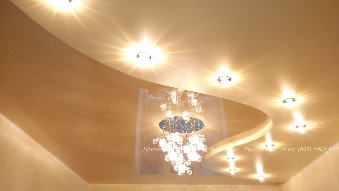 Натяжные потолки Кривой Рог двухуровневые, глянцевые матовые сатиновые, в кухню, зал, спальню. Фото Цена